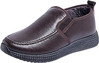 Clenp Chaussures pour Hommes, 1 Paire De Chaussures pour Hommes en Peluche, Automne Hiver, Chaudes en Similicuir, Antidéra...