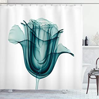Ambesonne Flower Shower Curtain, X-ray Image of a Rose Flower Romance Creative Nature Picture Print, Cloth Fabric Bathroom Decor Set with Hooks, 84