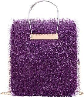 Trendy Lady Woolen Bag Chain Large-capacity Handbag Fashion Dinner Single Shoulder Diagonal Package Zgywmz (Color : Purple, Size : 18 * 2 * 31cm)