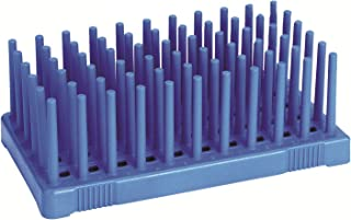 Heathrow Scientific HS24311B Peg Tube Rack, 50 Wells, Polypropylene, 14 to 17 mm, Blue (Pack of 2)