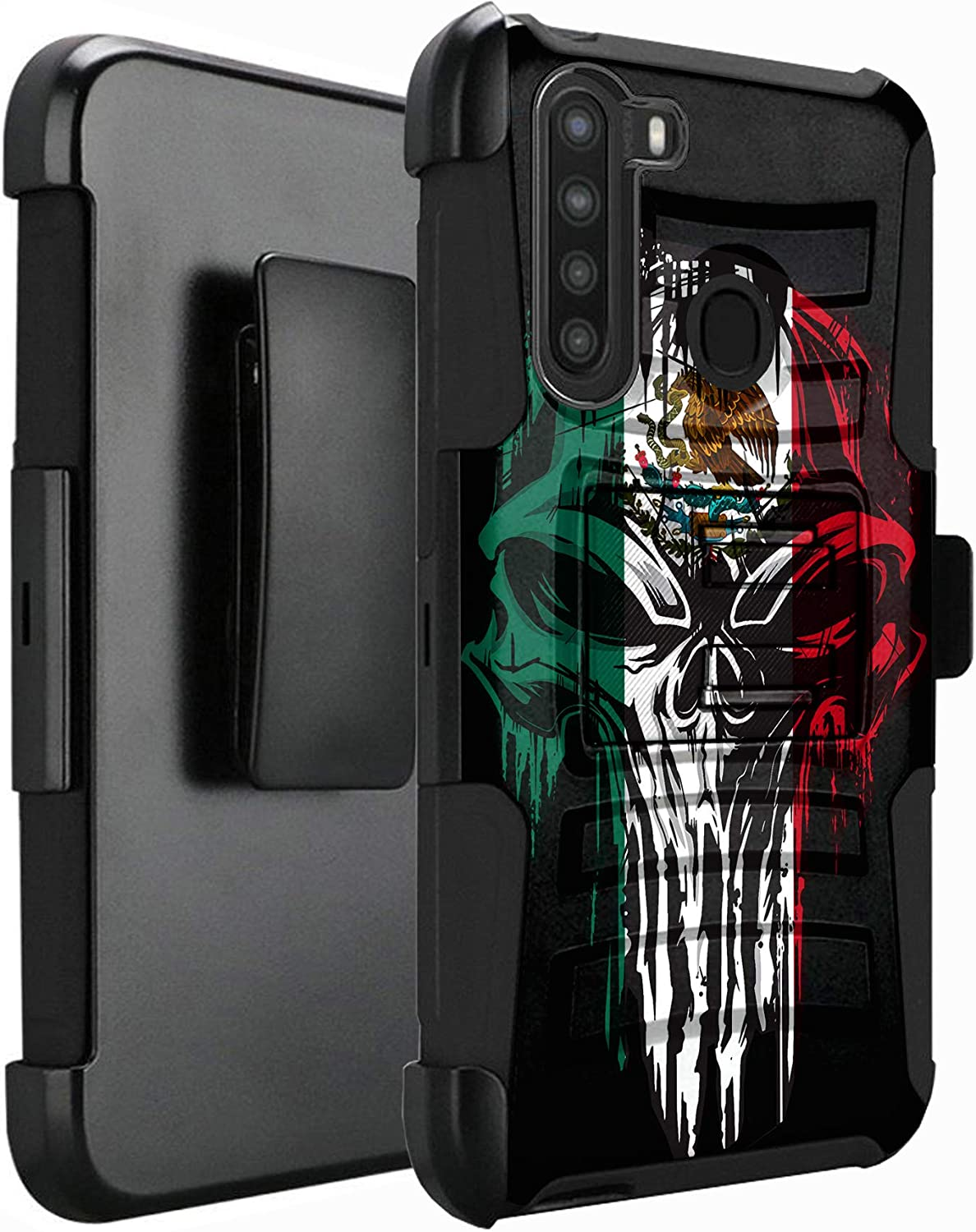 DALUX Hybrid Kickstand Holster Phone Case Compatible with Galaxy A21 (2020) - Melting Skull Mexico Flag