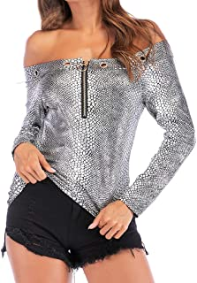007XIXI Womens T Shirts 2019 hot Sale Women Sexy Slash Neck Off Shoulder Long Sleeve Snakeprint Top T-Shirt Blouse