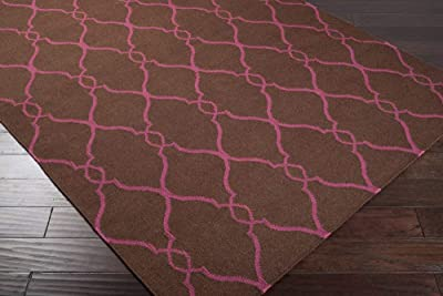 Amazon Com Surya Fallon Jill Rosenwald Lattice Flatweave Hand Made Area Rug 8 X 11 Dark Brown Fuschia Furniture Decor