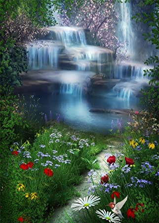8x10 FT Photography Backdrop Waterfall Cascade Landscape with Daisies in The Meadow Nature Themed Print Background for Kid Baby Boy Girl Artistic Portrait Photo Shoot Studio Props Video Drape Vinyl