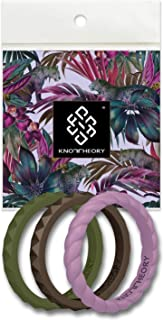 Knot Theory Stackable Silicone Wedding Rings for Women – Thin Pyramid and Twist Bands in Rose Gold, Silver, Pink, Purple, Teal Turquoise, White - Wife Gift from Husband