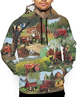 EdB70Fg Men's Long Sleeve Hoodie Sweatshirt Harvester Farmall Tractor Cotton Print Pullover Shirt Blouse