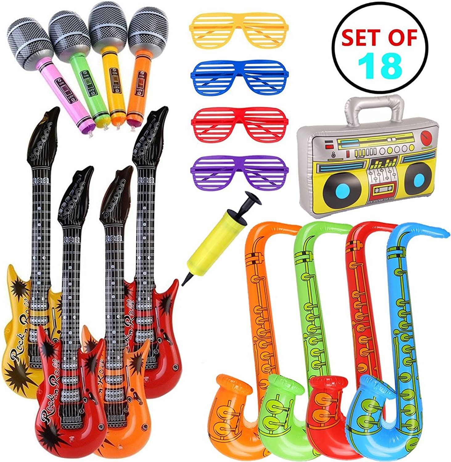 VN Store 18pcs Inflatable Guitar Saxophone Microphone for Party Bags Decorations Rock Star Set Inflatable Party Props (Random color)