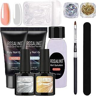Poly Nail Gel Nagel Kit- 30ml Clear & Nude Kleur Poly Nail Gel Polish, Nagel Extension Tools Kit whit Acryl Gel Oplossing,...