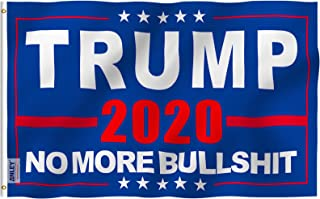Anley Fly Breeze 3x5 Foot Donald Trump 2020 Flag - Vivid Color and UV Fade Resistant - Canvas Header and Double Stitched - NO More Bullshit Flags Polyester with Brass Grommets 3 X 5 Ft
