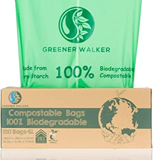 Greener Walker 25% Extra Thick Compostable Trash Bags, 1.6 Gallon-120Bags, ASTM D6400 BPI Biodegradable Food Kitchen Waste...