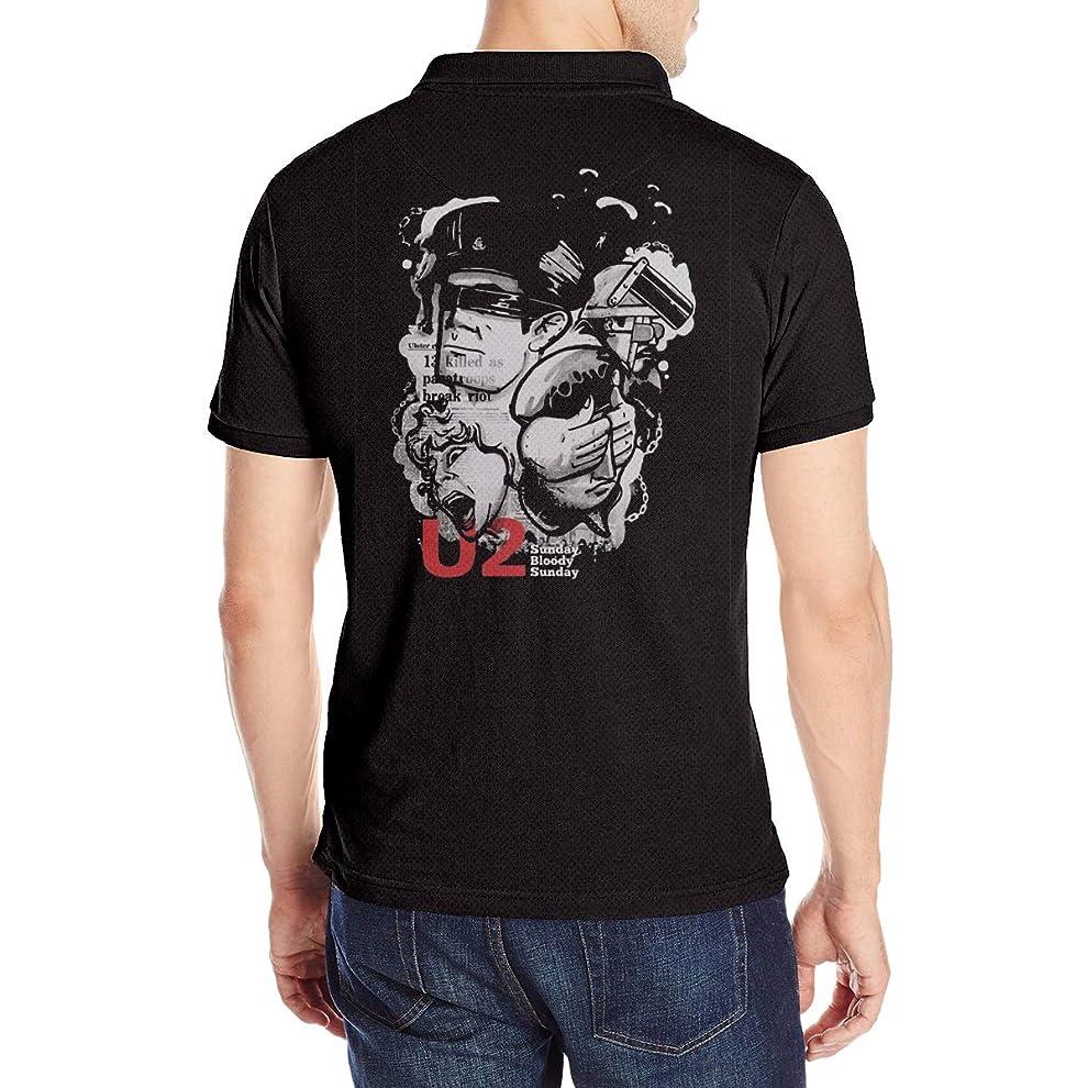 憂鬱美徳後U2 Rock Band Music メンズ ポロシャツ クラシックフィット吸汗速乾 Tシャツ ストレッチ 半袖 Poloシャツスポーツ ゴルフ ゴルフウェア 春 夏 シャツ Polo Shirts