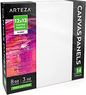 ARTEZA White Blank 100% Cotton Square Canvas Panel Boards, 12x12 Inches, Primed Canvases for Acrylic Painting, Oil Paint & Wet Art Media, Pack of 14