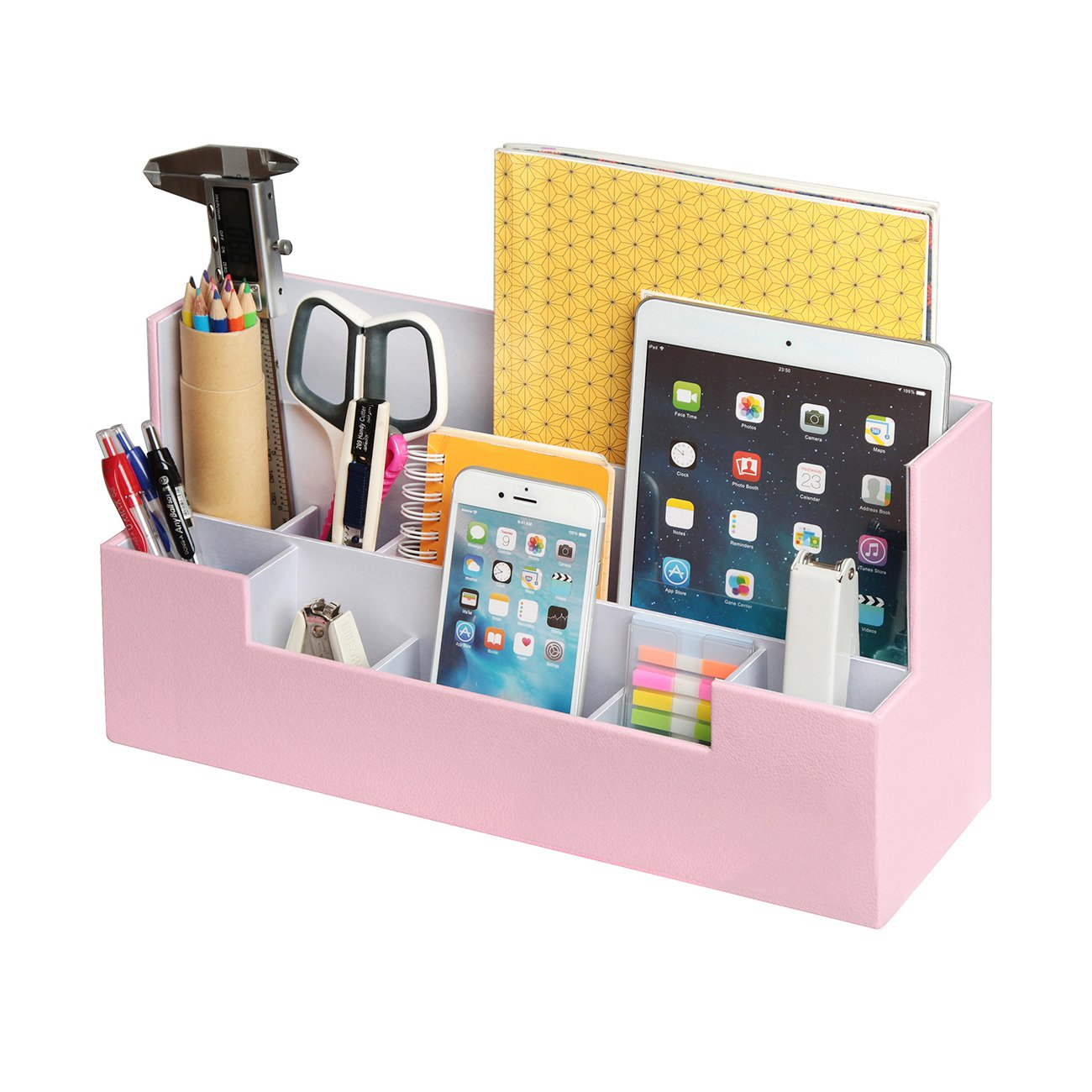 JackCubeDesign Leather Office Desk Stationery Organiser Supplies Storage  Box Case Caddy Tray Cosmetic Display Holder Phone Tablet Stand(Pink, 30 x