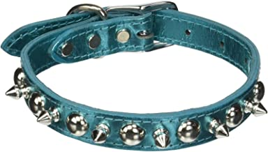 """OmniPet Signature Leather Pet Collar with Spike and Stud Ornaments, Metallic Turquoise, 3/4 by 18"""""""