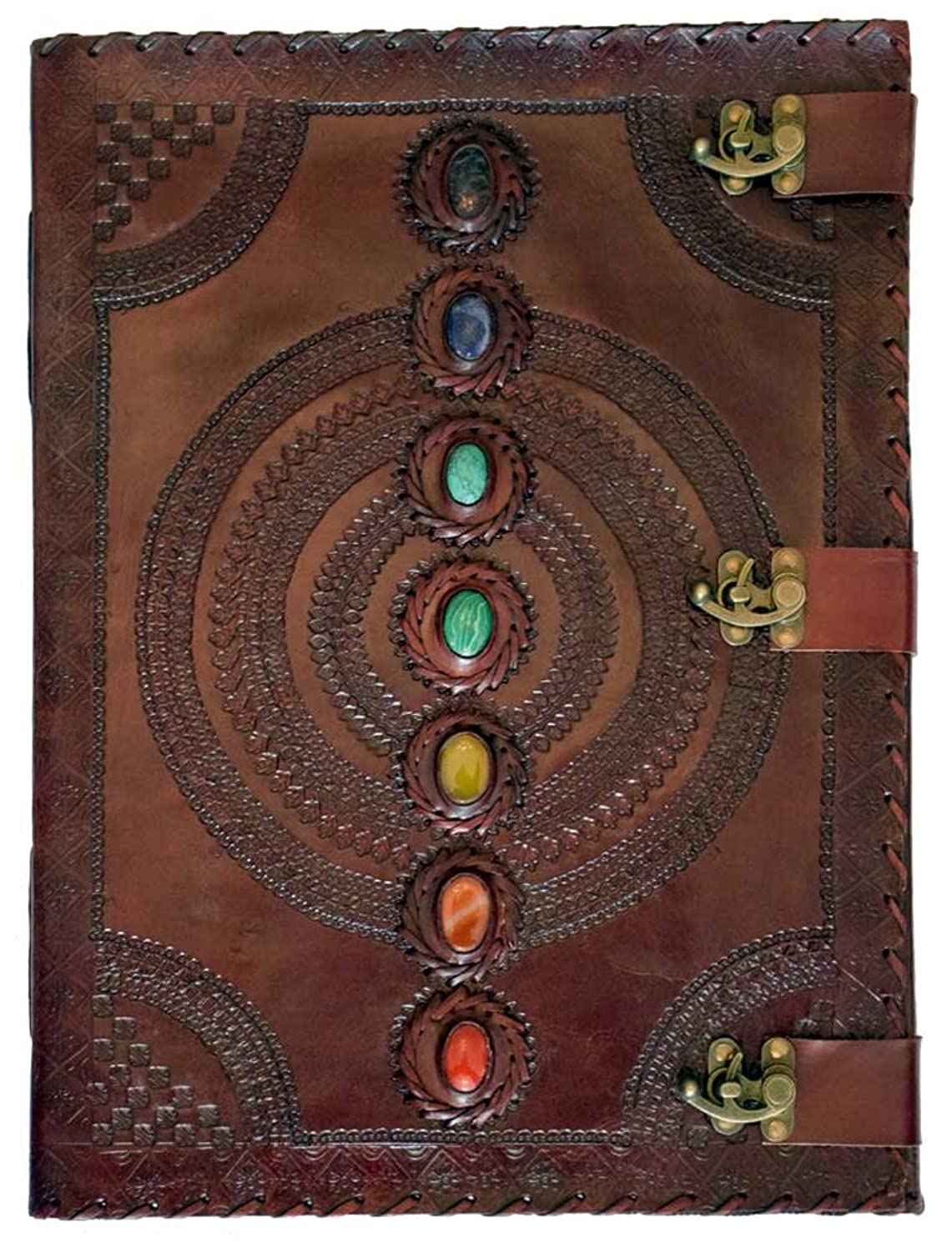 Leather Embossed Chakra Stones Journal 13.5