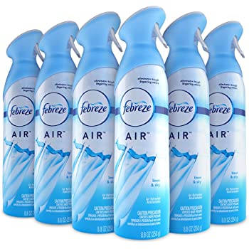 Febreze Air Freshener and Odor Spray, Linen & Sky Scent, 8.8 Oz, 6 Pack
