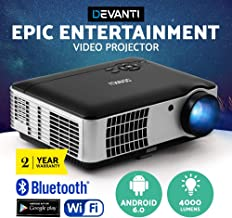 Devanti 4000 Lumens Portable Mini Video Projector with 200'' Projection Size for 1080P Home Cinema Movies Video Game Outdoor Activies Party, Compatible with HDMI VGA USB AV 3.5mm Audio Ports Built-in Heavy Bass Speaker, Advance Android 6.0, Wi-Fi connection, Bluetooth function