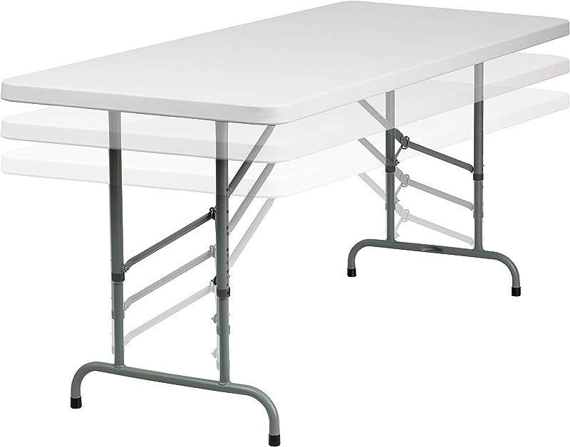 Flash Furniture 30 W X 72 L Height Adjustable Granite White Plastic Folding Table RB 3072ADJ GG