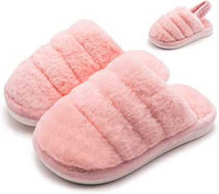 Fuzzy Slippers for Girls Boys Warm Furry Slide Flat House Slippers Sandals Toddler Kids Fur Lined Winter House Slippers Wa...