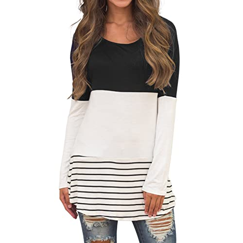 88f26a16630 Sherosa Women s Casual Color Block Lace Inset Long Sleeve T Shirt Tunic Tops