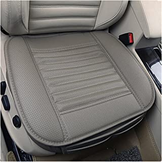 JOJOHON Car Seat Cushion, Car Seat Pad with PU Leather Bamboo Charcoal Car Seat Protector for for Auto Supplies Office Chair,Single Seat Without Backrest (1-Pack, Grey)