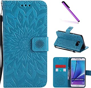 Galaxy Note 5 Case,LEECOCO Fancy Embossed Floral Pattern Wallet Case with Card/Cash Slots [Kickstand] Shockproof PU Leathe...