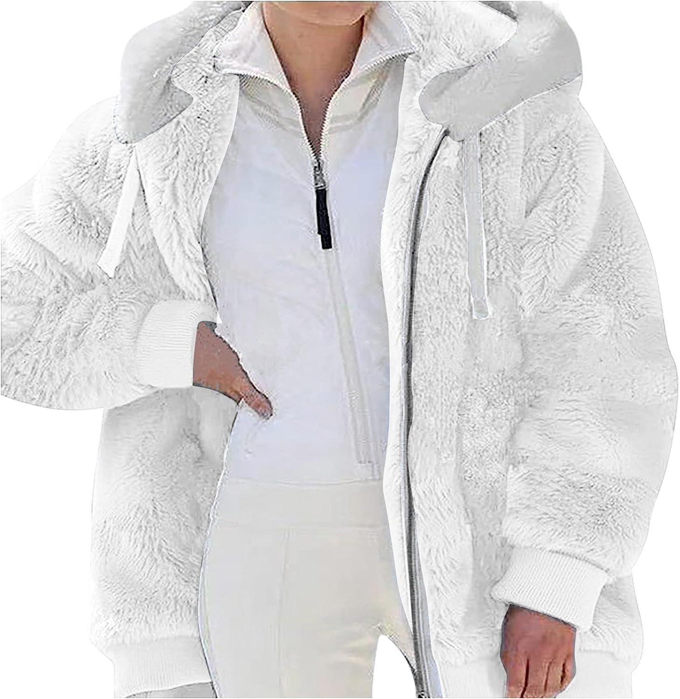 Women's Plus Size Winter Warm Loose Plush Zip Hooded Jacket Coat