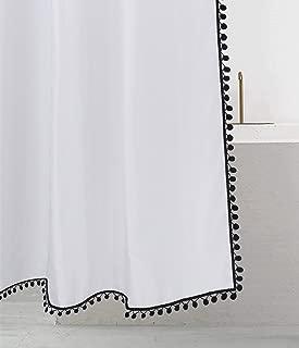 Felisa Black Pom Pom Trim Shower Curtain,Boho Tassel Shower Curtain for Bathroom,White and Black,72