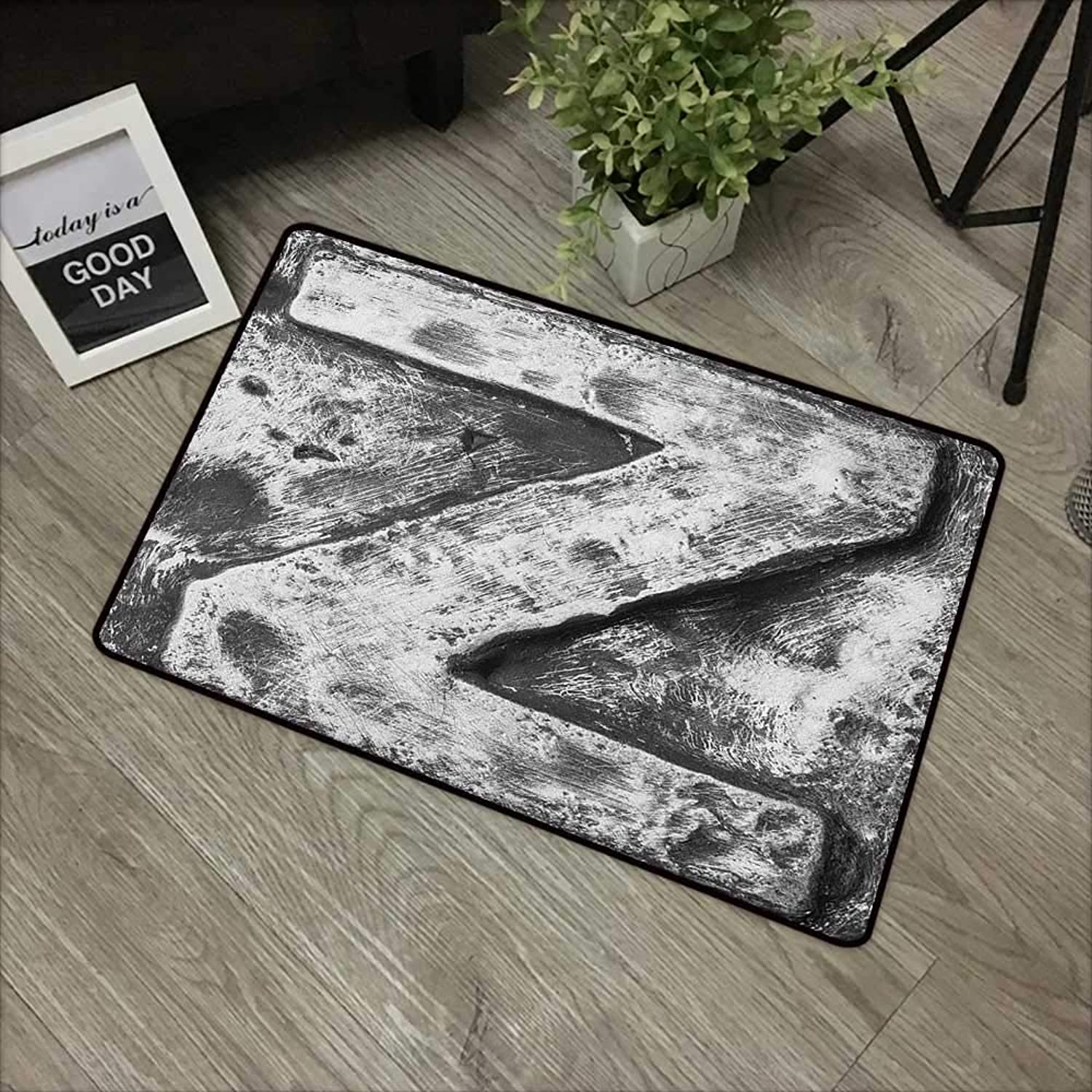 Printed Door mat W35 x L59 INCH Letter Z,Capital Z Letter Name Identity Initials VIP Rusty Tone Effects Aged Look Print, Black Grey Easy to Clean, no Deformation, no Fading Non-Slip Door Mat Carpet