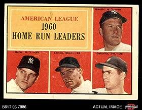 1961 Topps # 44 AL HR Leaders Mickey Mantle/Roger Maris/Rocky Colavito/Jim Lemon Yankees/Twins/Tigers (Baseball Card) Dean's Cards 2 - GOOD Yankees/Twins/Tigers