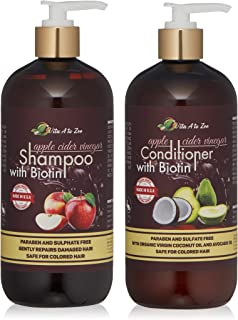 Apple Cider Vinegar & Biotin Shampoo & Conditioner | Infused with Aloe Vera Juice, Argon Oil & Saw Palmetto Extract | Balances pH, Conditions, Strengthens & Moisturizes Hair & Remove Build-up