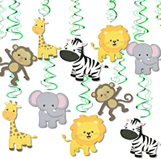 Konsait Jungle Animal Hanging Swirl Decoration(30Pack), Safari Theme Zoo Swirls Animals Birthday Party Spirals Home Ceiling Wall Decor for Woodland Farm Baby Shower Favor Supplies Decor