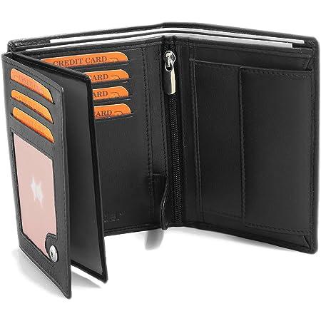 Fa.Volmer Schwarze Ledergeldbörse aus echtem Leder in Hochformat mit TÜV geprüftem RFID Schutz Phoenix 3, Schwarz