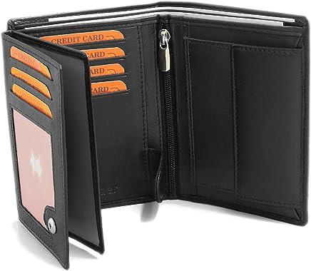 e5f97e167245e6 Fa.Volmer ® Schwarze Ledergeldbörse aus echtem Leder in Hochformat mit TÜV  geprüftem RFID Schutz