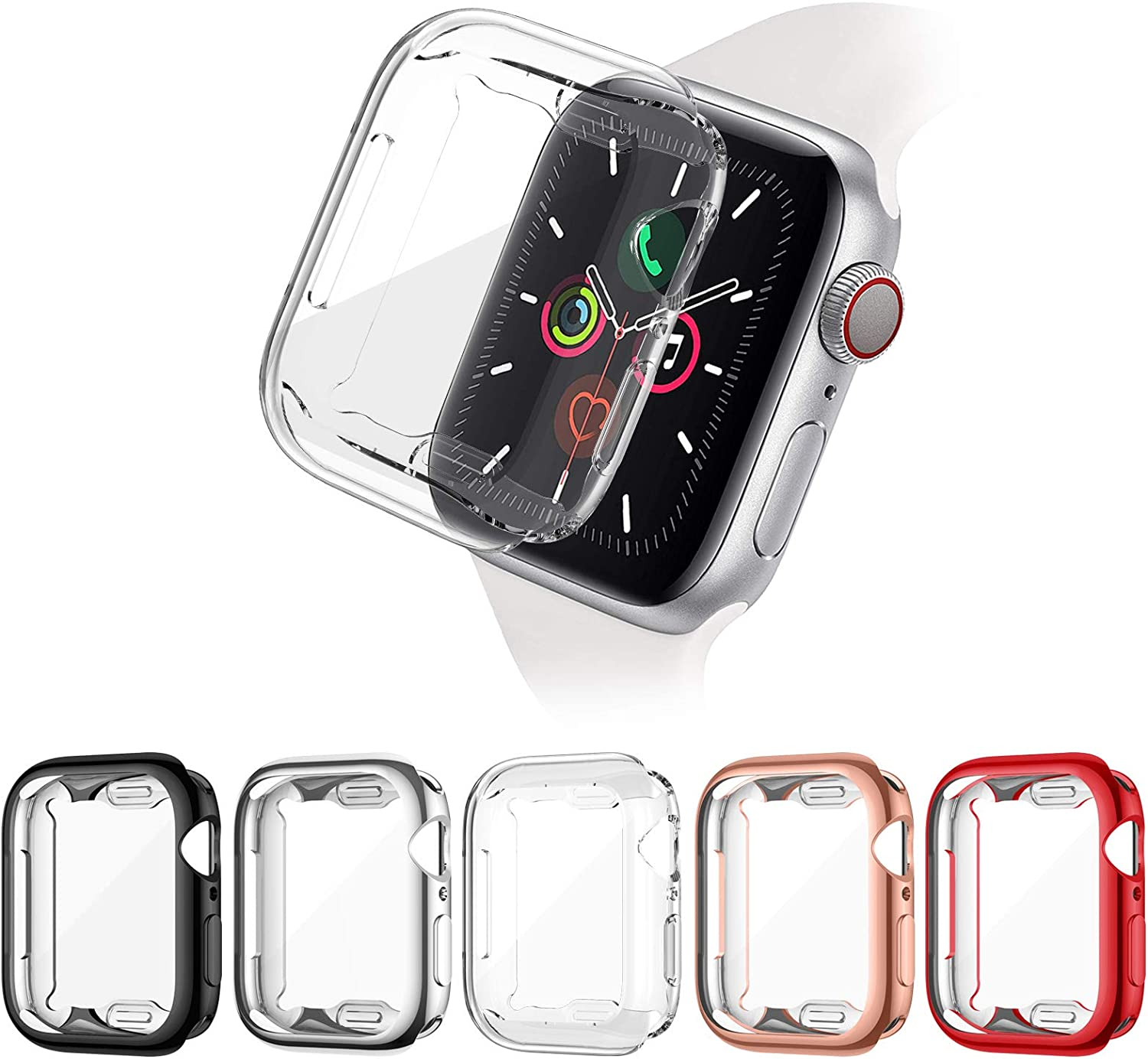 ZEBRE [5 Pack] Screen Protector Compatible with Apple Watch SE/Series 6 / Series 5 / Series 4 44mm, Soft TPU Full Coverage Protective Case Cover Compatible with iWatch Series SE/6/5/4