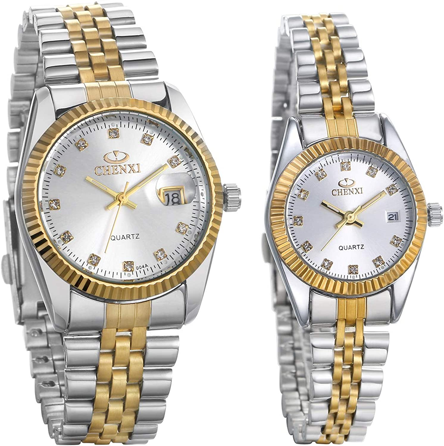 JewelryWe Cheap sale Luxury Couple Watches Tone Stainless Steel Gold-Silver Topics on TV