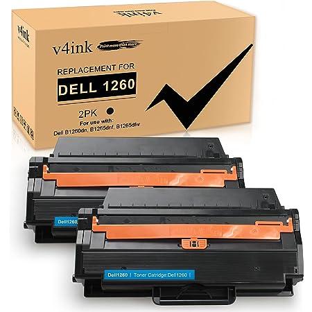 V4INK Compatible Toner Cartridge Replacement for Dell 1260 B1265 Dell 331-7328 for Use with Dell B1260dn B1265dnf B1265dn B1265dfw B1260 Series Printers (Black 2 Packs, New Version)