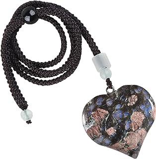 ياتينغ شفاء حجر الحب القلب قلادة للنساء والرجال، اليدوية الكريستال على شكل قلب قلادة مجوهرات مع حبل