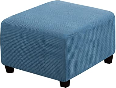 Square Ottoman Cover Soft, Stretch Jacquard Ottoman Slipcovers Waterproof Non Slip Footstool Protect with Elastic Bottom Mach