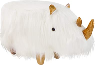 Critter Sitters White 14-in. Seat Height Woolly Rhino Animal Shape Ottoman