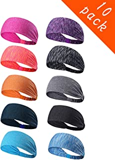10 Pack Women's Yoga Sport Athletic Workout Headband Sweatband for Running Sports Working Fitness - Elastic Stretchy Moisture Wicking Non Slip Sweatbands Headbands Headscarf for Men & Women