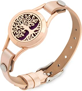 Essential Oil Diffuser Bracelet for Women| Stainless Steel | Aromatherapy Bracelet Anxiety Bracelet | 7 Refill Pads| Pretty Tree of Life Essential Oil Bracelets Jewelery Relaxation Gifts for Women |