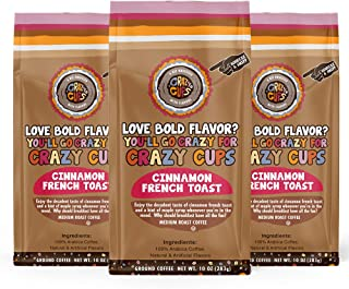 Crazy Cups Flavored Ground Coffee, Cinnamon French Toast, in 10 oz Bags, For Brewing Flavored Hot or Iced Coffee, 3 Pack