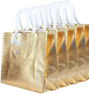 Gesodant Reusable Gift Bag,Shopping Bag,Grocery Bag Tote Bag With Handles ,Non-Woven Fabric,Medium Size,Set Of 5 - Glossy Gold