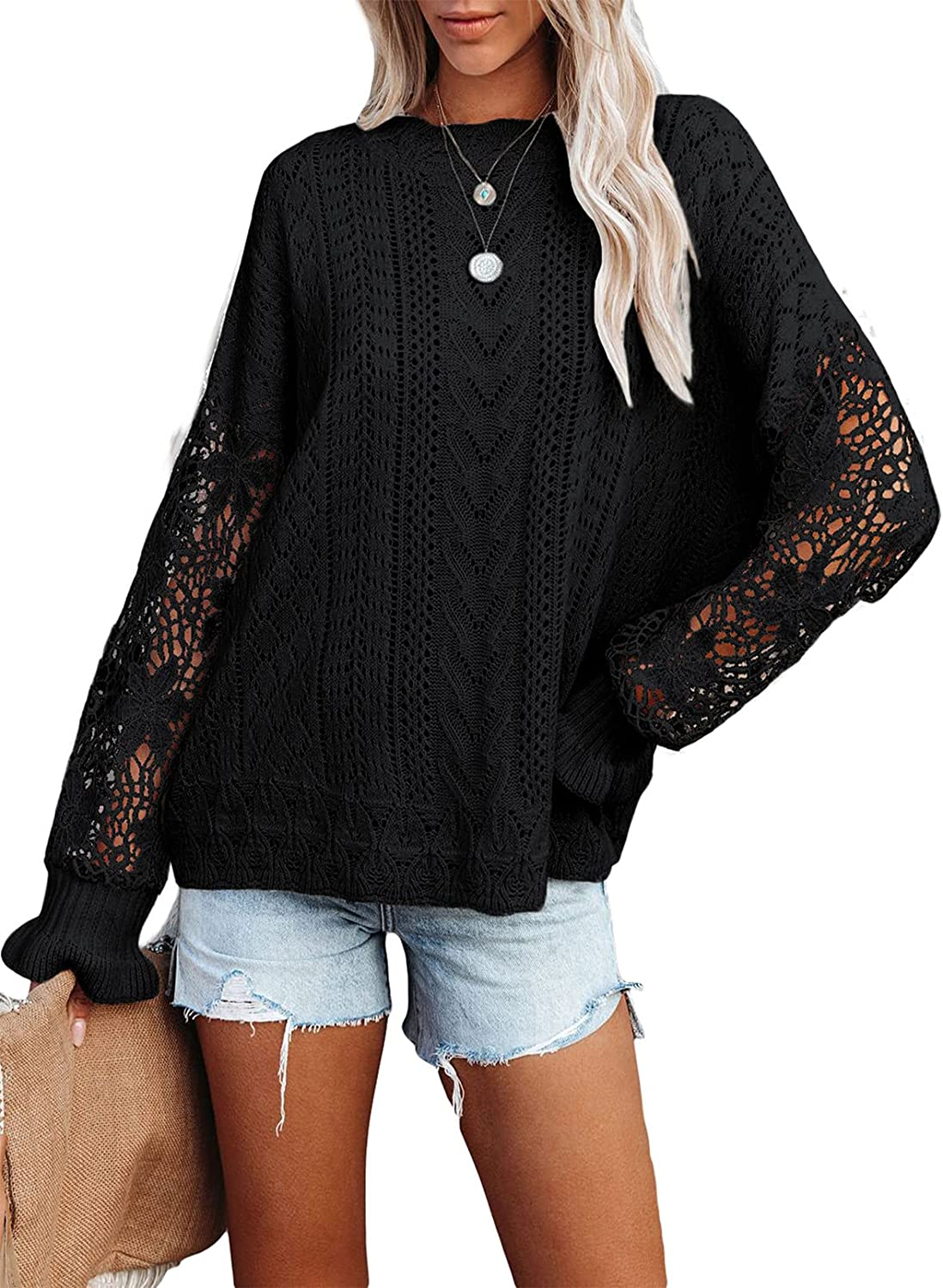 Bdcoco Womens Long Sleeve Lace Crochet Knit Sweaters Crewneck Hollow Out Pullover Jumper Tops
