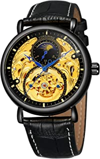 FORSINING Men Automatic Watches Tourbillon Skeleton Watch Moon Phase Wrist Watch Gold and Black