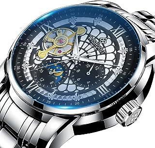 ساعت مچی مردانه ساعت مچی مکانیکی چند منظوره از جنس استنلس استیل ضد آب ضد زنگ ساعت مچی مردانه ساعت مچی مشکی مشکی