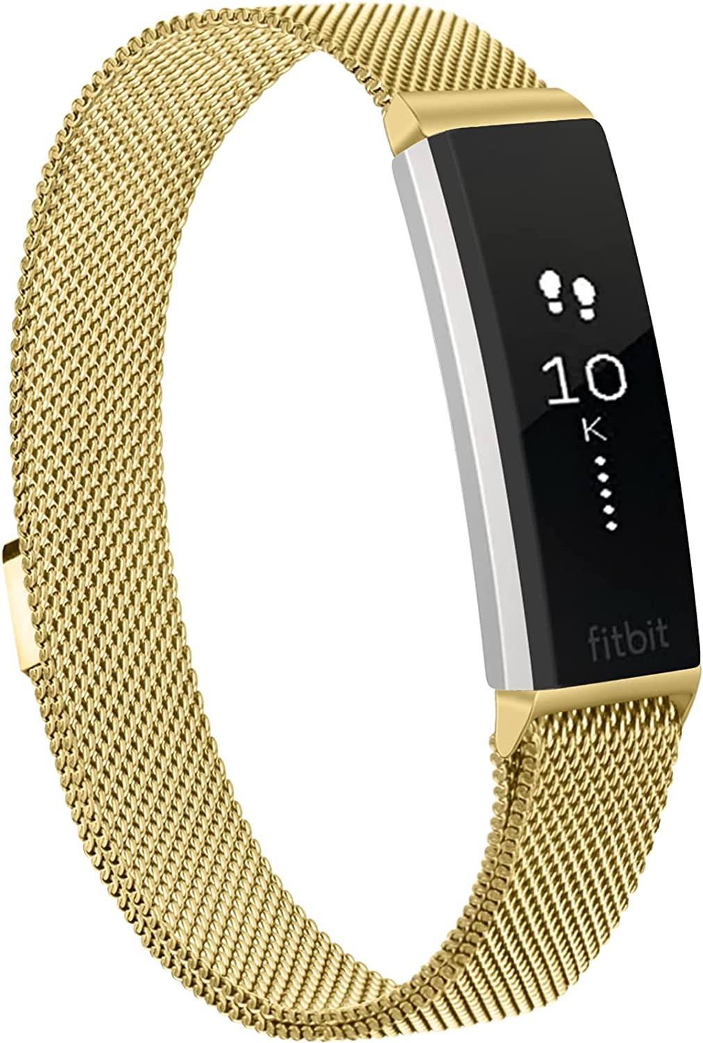 Meliya Metal Bands for Fitbit Alta & Fitbit Alta HR, Stainless Steel Magnetic Lock Replacement Wristbands for Alta & Alta HR Women Men Small Large (Large, Gold)