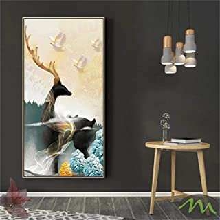 Lienzo Arte de la pared Pinturas modernas de árbol de luna dorada y ciervos para la sala de estar Carteles e impresiones d...