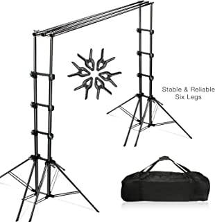 Julius Studio Double Stable 10 x 8.5 ft Photography Triple Backdrop Support System Kit with 6 Leg Support Stands, Extendable Cross Bar, Background Clamps, and Carry Bag, JSAG443.